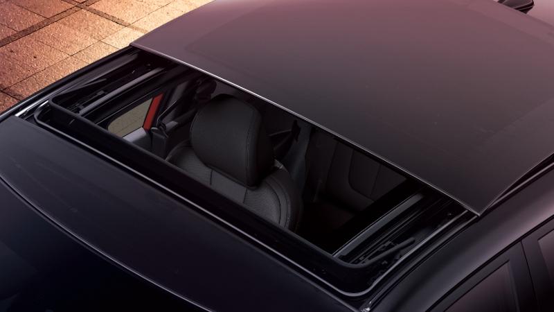 Full-width glass sunroof.