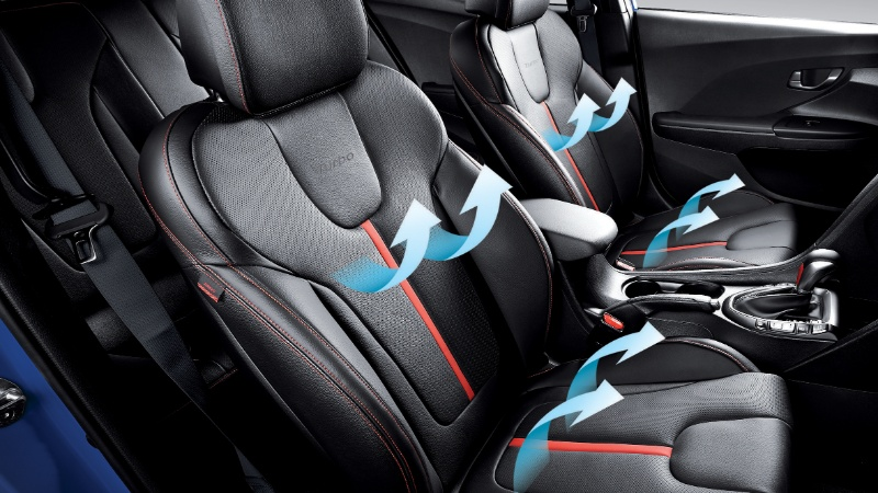 Leather-appointed <sup>[H2]</sup>heated and ventilated seats.