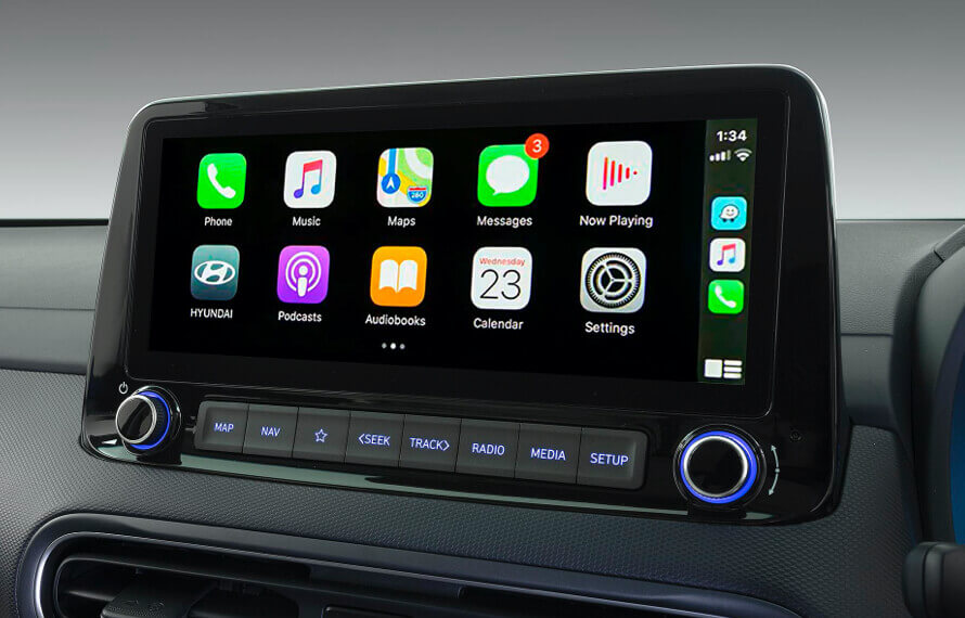 "10.25"" multimedia touchscreen display with Apple CarPlay<sup>TM[P1]</sup> and Android<sup>TM[P2]</sup> Auto compatibility."