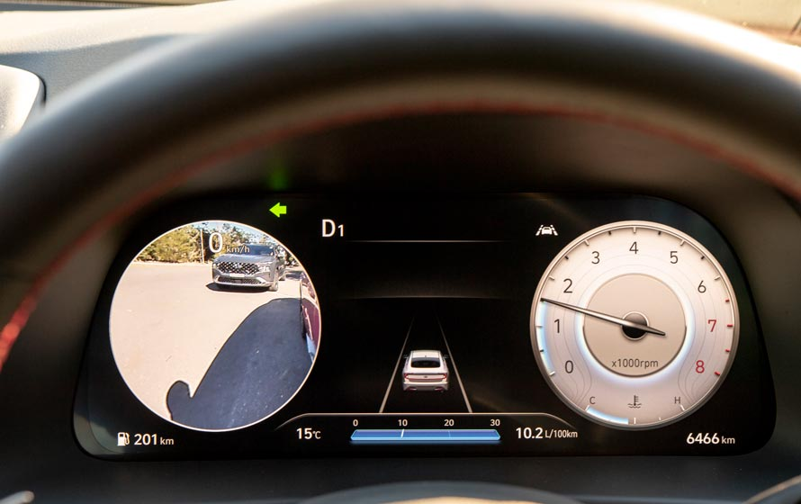 """12.3<sup>""""</sup> TFT-LCD supervision cluster with Blind Spot View Monitor (BVM)."""