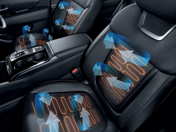 Heated and air-ventilated front seats.