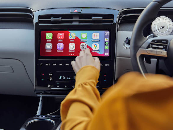 "10.25"" touchscreen with Apple CarPlay<sup>TM[P1]</sup> and Android<sup>TM[P2]</sup> Auto."